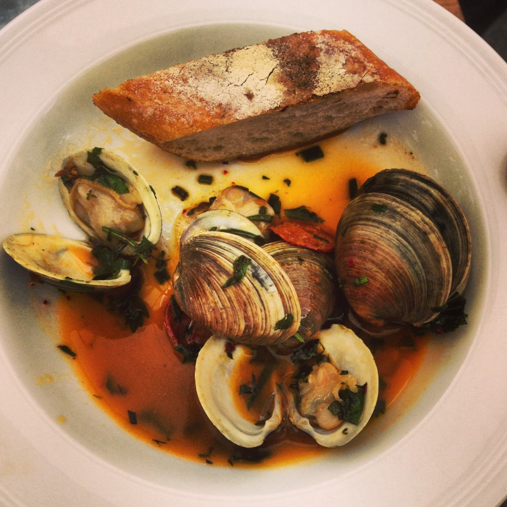 clams, steamed, smoked, tomato, grilled, bread, lemon, aioli, morita